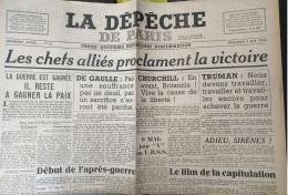 BOX - 9 MAY 1945 WWII VICTORY ISSUE N.62 Newspaper LA DEPECHE DE PARIS - Capitulation Of Germany - Historische Documenten