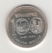 Canada 1 Dollar En Argent 100 Ans Winnipeg 1874/1974 - Canada