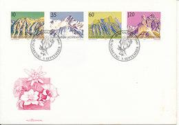 Liechtenstein FDC 3-9-1990 Mountains Complete Set Of 4 With Cachet - FDC
