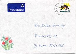 Sweden Cover Sent To Denmark Järna 24-2-1991 Single Franked Insect - Sweden