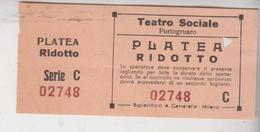 Ticket Buillet Biglietto Cinema Portogruaro Teatro Sociale Platea Ridotto  Gg - Biglietti D'ingresso