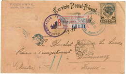 """CTN49/1AM - COLOMBIE ENVELOPPE """"SERVICIO POSTAL FLUVIAL"""" 10c POUR DOUARNENEZ JUIN 1903 TIMBRES ENLEVES - Colombia"""