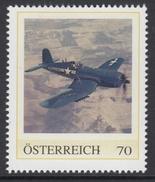 ÖSTERREICH 2016 ** 2. Weltkrieg - Amerikanisches Kampfflugzeug, Chance Yought F4U Corsair - PM Personalized Stamps MNH - 2. Weltkrieg