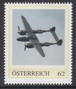 ÖSTERREICH 2016 ** 2.Weltkrieg - Lockheed P-38 Ligthning, Abfangjäger - PM Personalized Stamps MNH - 2. Weltkrieg