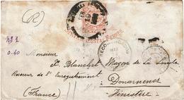 """CTN49/1AM - COLOMBIE ENVELOPPE """"SERVICIO POSTAL FERREO"""" 5c POUR DOUARNENEZ MARS 1903 TIMBRES ENLEVES - Colombia"""