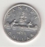 Canada 1 Dollar En Argent 1959 Canoe Avec Un Voyageur Et Un Indien - Canada