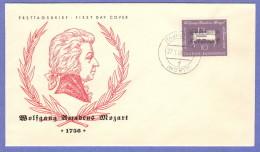 GER SC #739  1956  Wolfgang Amadeus Mozart, Composer,  FDC 01-27-1956 - [7] Federal Republic