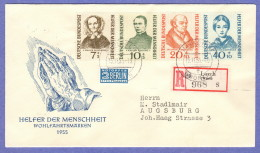 GER SC #B344-7 1955 S-P/Portraits  FDC 11-15-1955, Registered Mail (Lorch, Wurtt.) - FDC: Covers