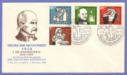 GER SC #B350-3 1956 S-P / Ignaz Philipp Semmelweis  FDC 10-01-1956 - FDC: Covers