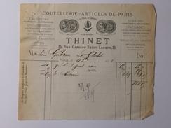 THINET ( Coutellerie - Articles De Paris ) LANGRES - Facture à Mr Sosthène GERBEAU Le 11 Septembre 1872 - Frankrijk