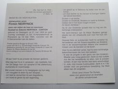 DP E.H. Firmin NEIRYNCK ( Carton ) Oeselgem 21 Mei 1909 - Roeselare 13 Mei 1994 ( Zie Foto's ) ! - Overlijden