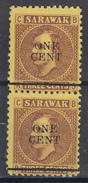 SARAWAK  1892  ONE Cent  On 3 C  MH VERTICAL PAIR. NO GUM. - Sarawak (...-1963)