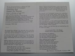 DP E.H. Joseph De MEESTER Waregem 9 April 1915 - Vivenkapelle (Damme) 1 Jan 1990 ( Zie Foto's ) ! - Avvisi Di Necrologio