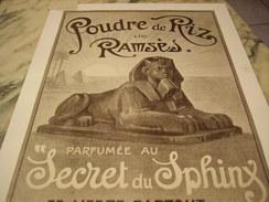 ANCIENNE PUBLICITE POUDRE DE RIZ DE RAMSES   1919 - Perfume & Beauty