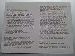 DP Z.E.H. Kanunnik IREEN MAES Moorslede 24 Maart 1901 - 15 Maart 1984 ( Zie Foto's ) ! - Avvisi Di Necrologio