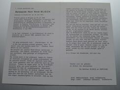 DP E.H. René BLIECK Assebroek 19 Mei 1914 - Oostende 5 Jan 1995 ( Zie Foto's ) ! - Overlijden