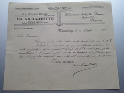 "Ed. MOUCHETTE Agent Mariembourg "" La Royale Belge "" ( Mémorandum ) > Gravier Frasnes 1930 ! - Belgien"