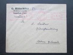 Deutsches Reich 1929 Violetter / Rosa Freistempel Ludwigshafen (Rhein) 1. G. Hitschler Drahtwarenfabrik Landau (Pfalz) - Briefe U. Dokumente