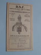 R.S.F. ( L. Smet & G. François / Collectif ) Bruxelles - Tarif N° 14 Du 25 Nov. 1929 ! - Publicidad