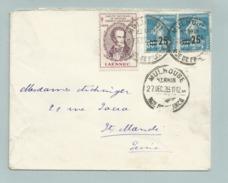 SEMEUSE 217 Obl ALSACE LORRAINE MULHOUSE Avec Timbre Tuberculose - 1906-38 Semeuse Camée