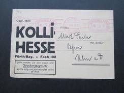 DR 1930 Postkarte Violetter Freistempel Fürth (Bayern) 2. Firmenkarte Kolli Hesse. Druckerzeugnisse - Briefe U. Dokumente