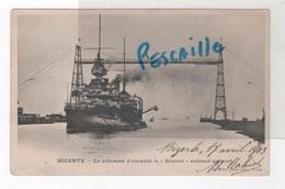 TUNISIE - CP BIZERTE - LE CUIRASSE D'ESCADRE LE BOUVET ENTRANT AU PORT - F. SOLER PHOT. EDIT. TUNIS - 1903 - Tunisie