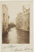 Carte Photo Hesdin Riviere  En Crue Dans La Ville 1901 - Hesdin