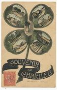 Souvenir De Charlieu Multi Vues 9 Vues Trefle à 4 Feuilles Edit Lafay Besacier Vers Vaux En Pré Par Genouilly 71 - Charlieu