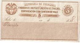 """CTN49/1AM - COLOMBIE """"CERTIFICACION CON CONTENIDO""""  NEUVE - Colombia"""