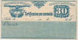 """CTN49/1AM - COLOMBIE """"CERTIFICACION CON CONTENIDO """"  NEUVE - Colombia"""