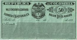 """CTN49/1AM - COLOMBIE """"VALOR DECLARADO """"  NEUVE - Colombia"""