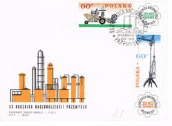 Polen - FDC 1653 / 1654 Industrie - Chemiefabrik, Kran, Landmaschine - Kongress Katowice - FDC