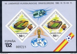 HUNGARY 1982 Football World Cup Imperforate Block MNH / **.  Michel Block 155B - Blocks & Sheetlets