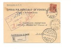 6882 1959 SIRACUSANA £80 ISOLATO CARTOLINA RACCOMANDATA MOLA DI BARI - 1946-.. République