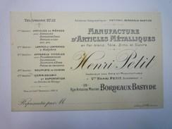"""Carte  PUB  """" Manufacture D'Articles Métalliques  Henri  PETIT  Bordeaux-Bastide """"   1928   - Werbepostkarten"""