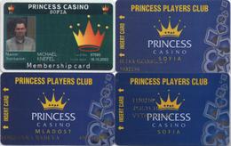 Lot De 4 Cartes Différentes : Princess Casino Sofia (x3) Et Mladost (x1) Bulgarie - Casino Cards