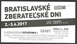 Slovakia, Bratislava, Entry Ticket For Collectors' Fair 2017 - Tickets - Vouchers
