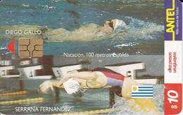 Nº 135 TARJETA DE URUGUAY DE ANTEL DE NATACION   (CHIP G5 ROJO) - Uruguay