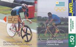 Nº 139 TARJETA  DE URUGUAY DE CICLISMO DE 50$   (CHIP G5 ROJO) - Uruguay