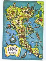 GREECE - KERKIRA / CORFU - MAP POSTCARD - EDIT LYCOUDIS 1976 - STAMPS ( 1633 ) - Cartes Postales