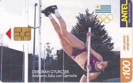 Nº 142 TARJETA DE URUGUAY DE ANTEL DE SALTO CON GARROCHA (PERTIGA)  (CHIP G4 NEGRO) - Uruguay