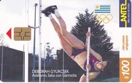 Nº 142 TARJETA DE URUGUAY DE ANTEL DE SALTO CON GARROCHA (PERTIGA)  (CHIP G5 ROJO) - Uruguay
