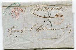 SUISSE De GENEVE LAC De 1850  Pour BORDEAUX  Taxe De 9   Dateur Entrée SUISSE 1 FERNEY 1 - Postmark Collection (Covers)
