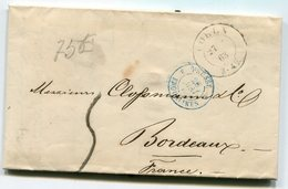 ALLEMAGNE De COLOGNE LAC De 1863  Pour BORDEAUX  Taxe De 5   Dateur Entrée PRUSSE 3 ERQUELINES 3 - Postmark Collection (Covers)