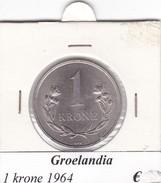 GROENLANDIA   1 KRONE  ANNO 1964  COME DA FOTO - Greenland