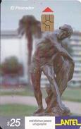 Nº 177 TARJETA DE URUGUAY DE ANTEL DE ESTATUA DE EL PESCADOR  (CHIP G5 ROJO) - Uruguay