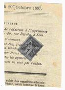 Octobre 1887 - Type Sage 1c N°83 Oblitération Typographique Sur Journal De Sens Yonne - 1876-1898 Sage (Type II)