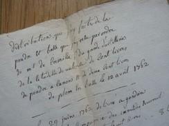 Livraison POUDRES, PLOMBS Et BOULETS De CANONS à La PRISON De CREST 18ème (Valence, Drôme) - Documents Historiques