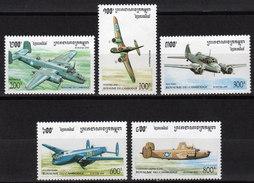KAMBODSCHA 1995 ** Kampfflugzeuge Des 2. Weltkrieges - MiNr.1529-1533 Kompletter Satz MNH - 2. Weltkrieg