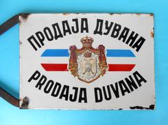 YUGOSLAVIAN KINGDOM 1930's '' TOBACCO SHOP '' ORIGINAL VINTAGE ENAMELED SIGN *** LARGE MASSIVE * PLAQUE ANCIENNE EMAILLE - Tabak